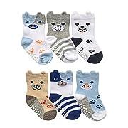 Jefferies Socks Baby Boys Non-Skid Dog Socks 6 Pair Pack (Infant - USA Shoe 1-4 - Age 3-12 Months, Multi)