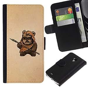 KingStore / Leather Etui en cuir / Samsung Galaxy S4 Mini i9190 / Bea Caveman Arte Daga Marrón Pintura Divertido