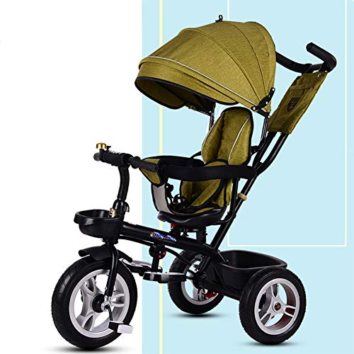 YINGH - 4 in 1 Children Tricycle with Rotating seat and UV Protection Awning,Mid-Collapsible Pedals,Detachable Push Rod,1-6 Years Old, 4 Colors