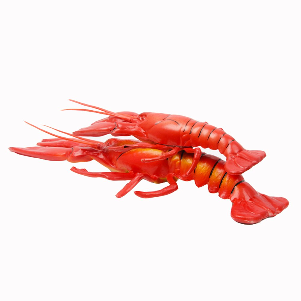 Transcend11 2pcs Fake Cooked Lobster Faux Simulation Lifelike Fish Food Home House Party Kitchen Cabinet Desk Decoration Hotel Store Display Model Photography Props Kids Play Food Toy
