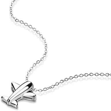 Helen de Lete Innovative Little Frosted Airplane Sterling Silver Collar Necklace