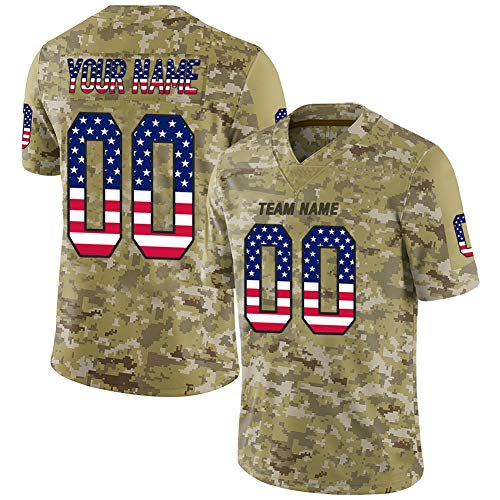 Ballscity Custom Jerseys Personalized USA Flag and camo Style, Design Your Own Embroidered Football Jerseys for Men, Women and Youth, Breathable and Dry, S-5XL