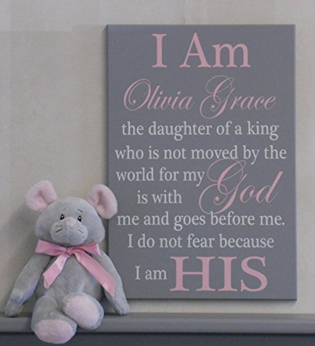 I Am His Christian Wall Art, Daughter of a King Baby Nursery, Girl's Room Decor, Personalized Decor, Custom Baby Shower Gift, Pink and Gray