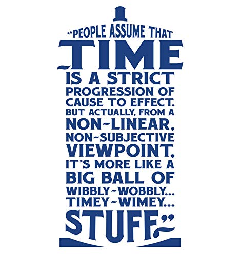 Vertigo Creative Products Xtra-Large - Time is Wibbly Wobbly, Timey Wimey Stuff Wall Décor Sticker Vinyl Decal - Doctor Who Quote - Tardis ()