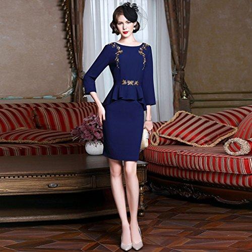 Manicotto Vestiti Abiti Blu `s Pezzo 3 Un Del Cotyledon Di Donne Business Rotonde Di 4 Delle Collo 1wRPT