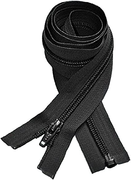 Not invisible 26 inch Black Nylon Coil Separating YKK Zipper New!