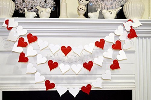 Amazon Com Red White Heart Garland Wedding Garland Birthday Party