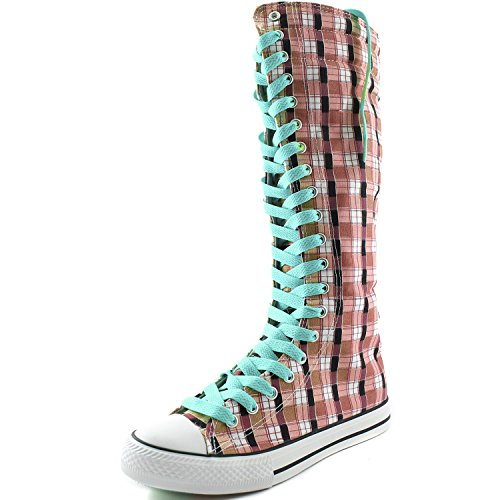 Dailyshoes Womens Canvas Mid Kalf Lange Laarzen Casual Sneaker Punk Flat, Oceaan Blauw Roze Wht Geruite Laarzen, Oceaanblauw Kant