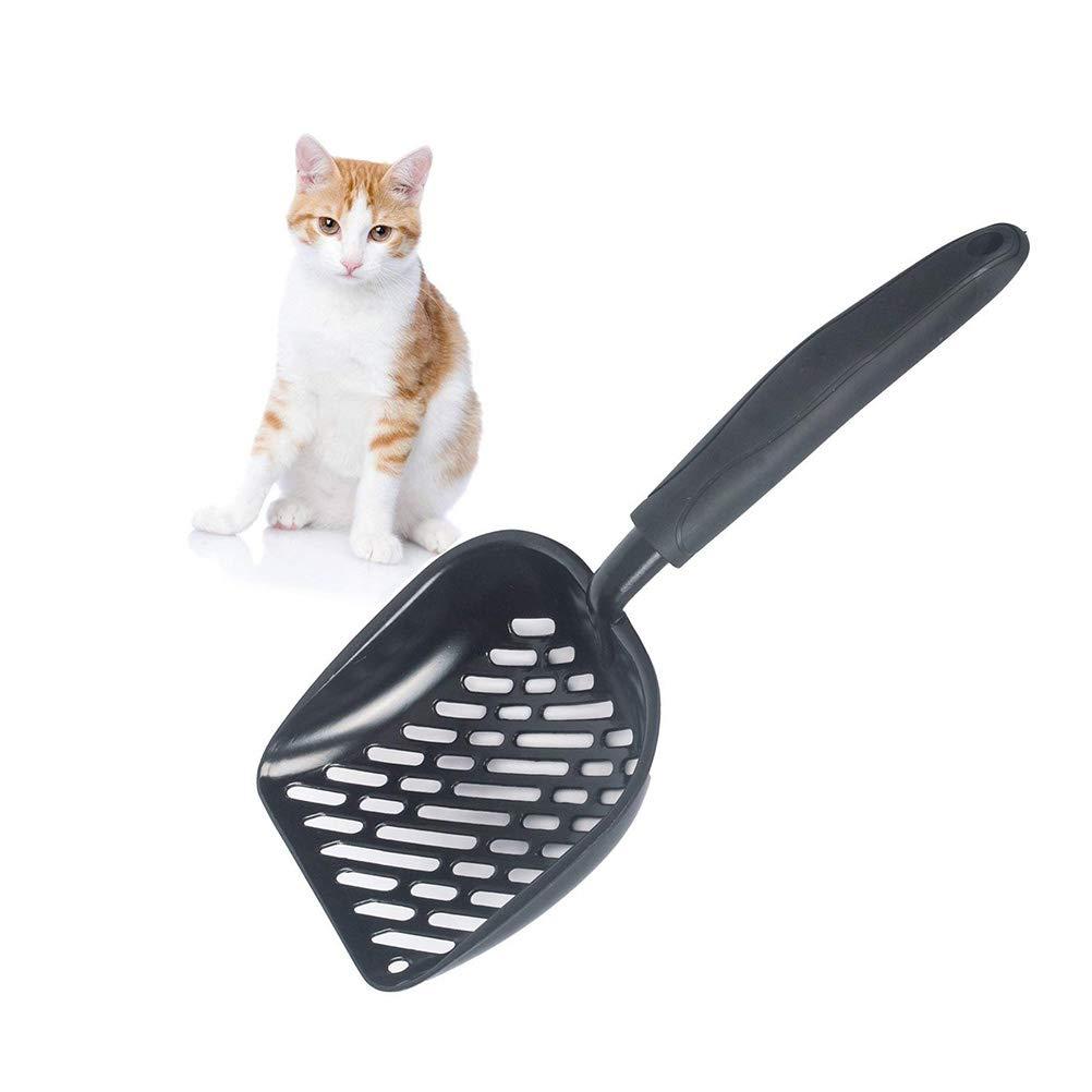 Black POPETPOP Cat Litter Scooper Thickened Aluminium Alloy Scoop Pet Durable Metal Sifter Deep Shovel with Non-Slip Handle