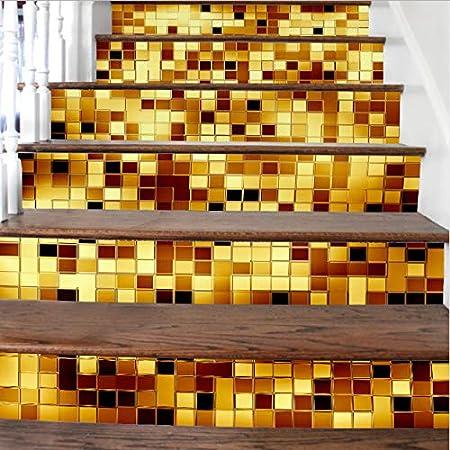 Fandhyy Mosaico Dorado Patrón De Cerámica Nuevos DIY Escaleras Pegatinas Azulejos De Cerámica Patrones Etiqueta Adhesiva De La Escalera 6 Unids/Set Boda En Casa: Amazon.es: Hogar