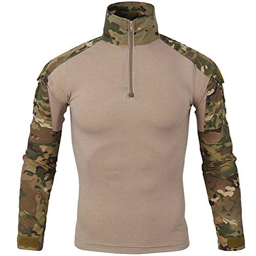 DXdesign Tactical 1/4 Zip Combat Long Sleeve T-Shirt Multicam Slim Fit Hunting Military Uniform Dry Quick (XX-Large, Desert Multicam) -