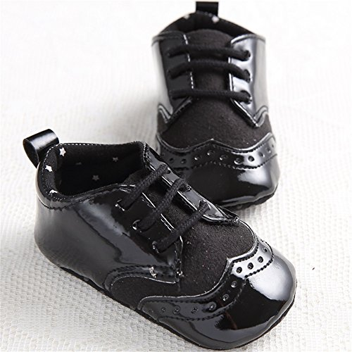 Baby Lace Up Brogue Shoes Medallion Wingtip Patent Leather Crib Dress Shoe Moccasins Black Size L by LINKEY (Image #2)