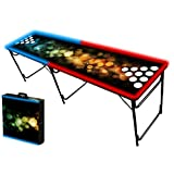 8-Foot Professional Beer Pong Table w/ Holes & Glow Lights - Bubbles Graphic