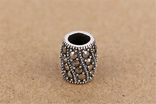 Luoyi 1pc Marcasite Spacer Beads, Thai Silver Jewelry Findings (C182Y)