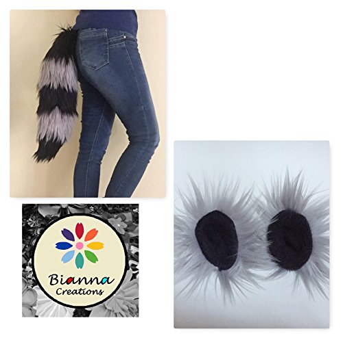 Bianna Raccoon Black and Gray Set, Faux Fur Animal Cosplay Tail and or Repositionable Ears, You choose, Handmade Anime Convention Rave Costume Gear, Furry Fuzzy Striped Accessory