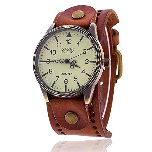 MINILUJIA Vintage Retro Punk Men Wrist Watch Bronze Big Face Dial Wide Genuine Leather Strap Band Cuff Quartz Watches (Cuff Leather Steampunk Watch)
