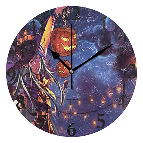 Ladninag Wall Clock Personalized Halloween Anime Wallpaper Silent Non Ticking Decorative Round Digital Clocks for Home/Office/School Clock