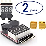 RC Lipo Battery Voltage Tester Low Voltage Warning Buzzer Alarm 1s-8s Monitor Quadcopter Drone Battery Checker 2 Count XT60 Connectors Plugs for RC Helicopter Quadcopter Drone Car