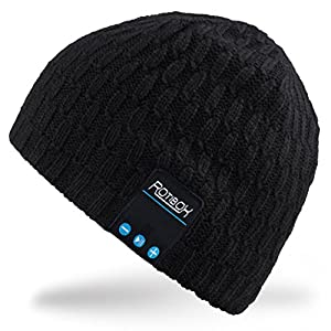 Mydeal Bluetooth Beanie Hat Winter Warm Soft Knit Cap with Wireless Headphone Headset Earphone Stereo Speaker Microphone Hands Free for Outdoor Sport,Compatible with Iphone Android Cell Phones - Black