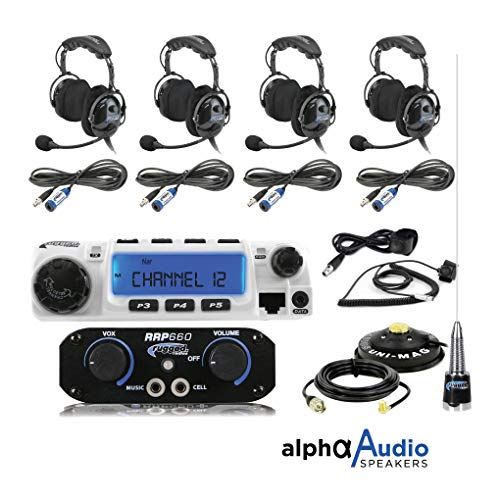 Rugged Radios RRP660 Intercom and RM60 60 Watt VHF Two Way Mobile Radio 4 Place Race System Kit with Over The Head Headsets, Push to Talk Cables, Intercom Cables, Antenna and Antenna Mount