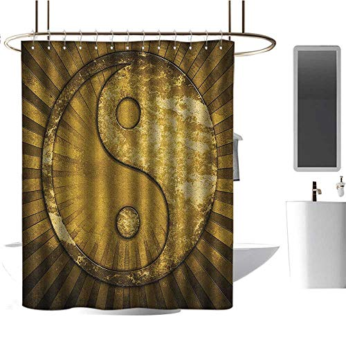 TimBeve Polyester Shower Curtain Ying Yang,Industrial Eastern Asian YingYang on top of Sunburst Technological Pattern,Brown Pale Brown,Metal Rust Proof Grommets Bathroom Decoration 36