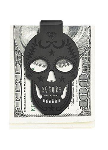 (Stainless Steel Skull Money Clip Front Pocket Wallet (Black))