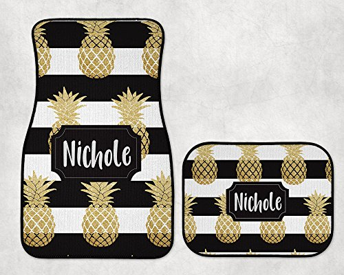 (The Navy Knot Personalized Heavy Duty Car Mats - Black Stripe Gold Pineapple (Front and/or Back) (Front Set + Back)