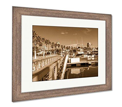 Ashley Framed Prints Long Beach Marina and City Skyline Long Beach Ca, Wall Art Home Decoration, Sepia, 30x35 (Frame Size), Rustic Barn Wood Frame, AG5620066