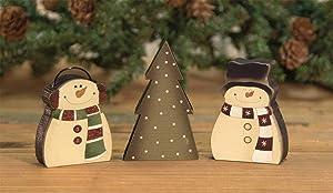 The Bridge Collection Snowmen & Pine Tree Primitive Wood Block Set