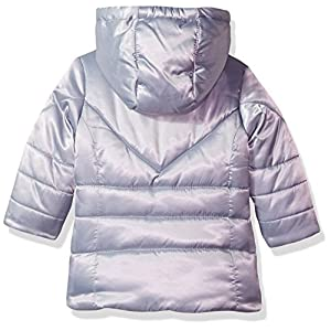 London Fog Baby Girls Satin Quilted Puffer Jacket Coat, Silver, 12M