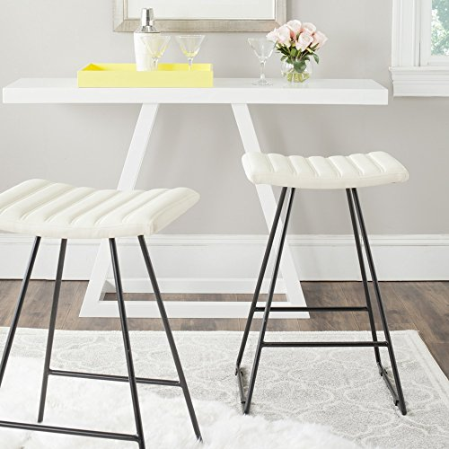 Safavieh Home Collection Akito Mid-Century Modern Cream 26-inch Counter Stool Set of 2