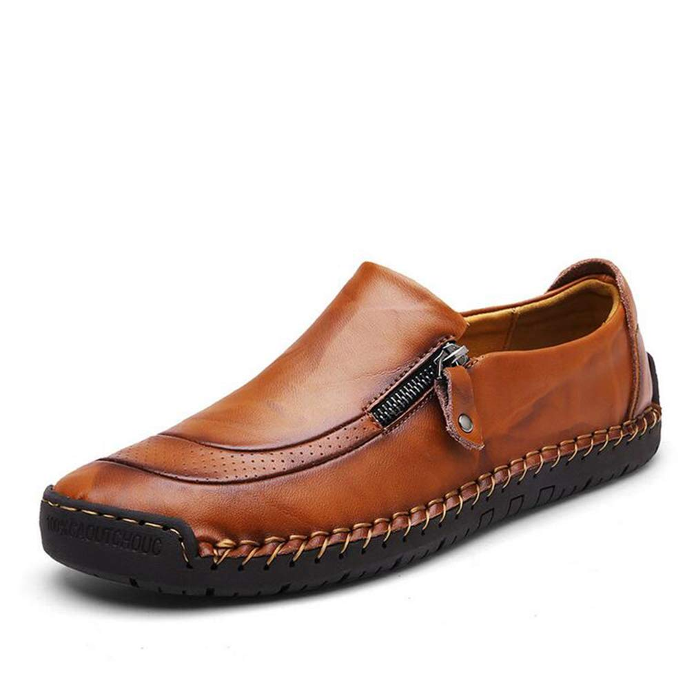 Hy Mens Casual schuhe, Spring Fall Leder Formal Business schuhe Slip-Ons Driving schuhe, Loafers & Slip-Ons Lazy schuhe Office & Career Party & Evening,Lightbraun,45
