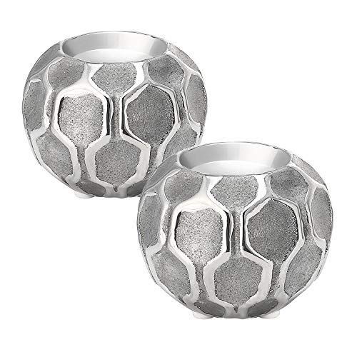 (Zonesum Silver Tea Light, 3.7-inch Round Candle Holders, Set of 2, Sliver)