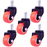 8T8 2 Replacement Office Chair Caster Wheels Heavy Duty Solid Rubber Safe for Hardwood Tile Floors (7/16x7/8 Stem Orange)