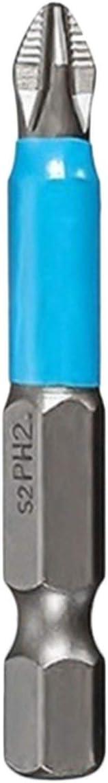 Sairis mango hexagonal magn/ético de 50 mm Juego de 10 puntas de destornillador de cruz Phillips de 50 mm PH2 color plateado