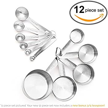 Maison Maison Measuring Cups and Measuring Spoons Set - 12 Piece Stainless Steel with 2 D Rings and Precise American & Metric Measurements