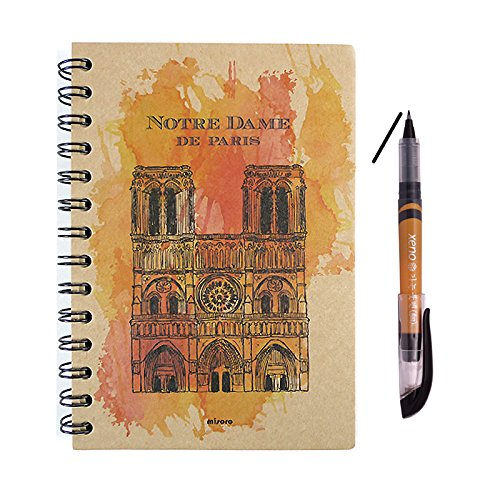 Craft B6 Hard Cover Spiral Lined Index Notebookwith Calligraphy Brush Fude Kanji Pen Set (Notre Dame de Paris) (Liquid Dame)