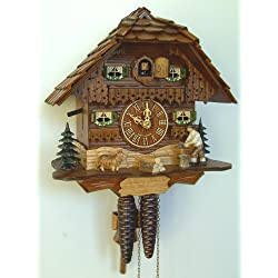 10 Antique Stained Chalet Cuckoo Clock with Woodchopper