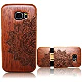 Samsung Galaxy S7 Wooden Case,T-Young(TM) Natural Wood Bamboo Carved [Stylish Pattern] Case Hard Back Shockproof Cover Skin Protector for Samsung Galaxy S7 - Sun Flower