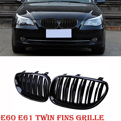 Ricoy For 2003-2010 Sedan E60 E61 M5 Gloss Black Front Kidney Twin FIns Double Slat Grille 5 Series 520i 535i 550i