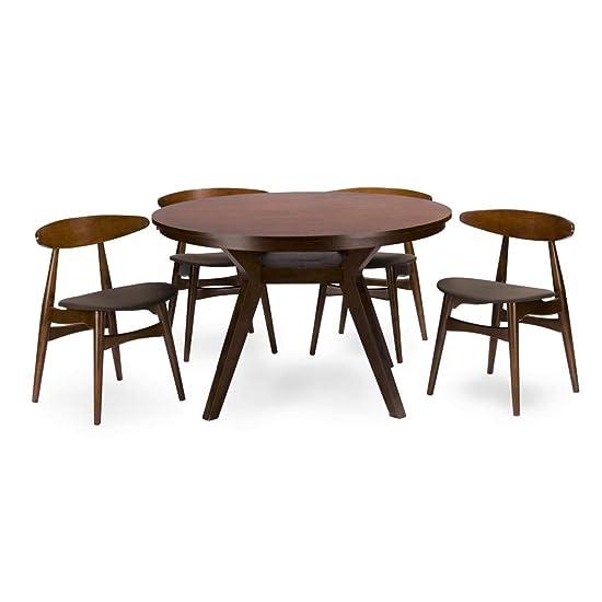 Baxton Studio 5 Piece Flamingo Mid-Century Dining Set, Dark Walnut