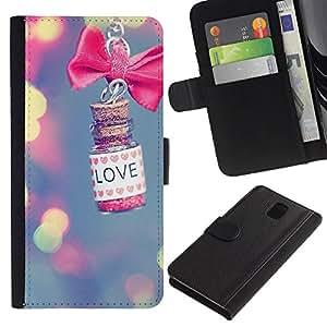 KingStore / Leather Etui en cuir / Samsung Galaxy Note 3 III / Blur rose Signification Valentine