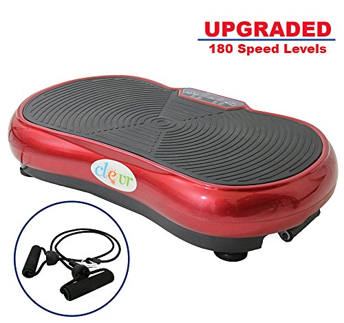Clevr Upgraded Mini Whole Body Fitness Vibration Platform Exercise Machine Full Massage Workout w/Built in Speakers & Bluetooth MP3, Red