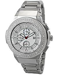 "JBW Men's JB-6101-B ""Saxon"" Silver Stainless Steel Sunray Diamond Watch"