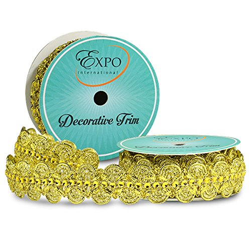 Expo International SIR6964SL Eva Faux Rhinestone Metallic Braid Trim Spool, 3 yd, Silver