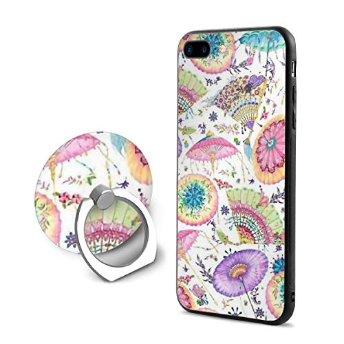 Fanfare Fans and Parasols Oriental Pastel iPhone 7 Plus Case, iPhone 8 Plus Case, and Ring Holder Kickstand Full Protective Shockproof Cover Case for iPhone 8 Plus/iPhone 7 Plus