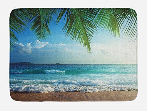 Mat Green Island Decor (Ambesonne Ocean Bath Mat, Palms Tropical Island Beach Seashore Water Waves Hawaiian Nautical Marine, Plush Bathroom Decor Mat with Non Slip Backing, 29.5 W X 17.5 W Inches, Blue Green Turquoise)