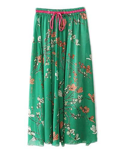 Femme Jupe Impression Shaoyao Vert Jupes Bohme Longue Pliss Maxi vqTPF0