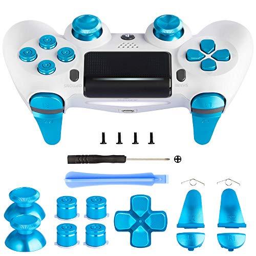 Z&Hveez Metal Buttons for PS4 Controller Gen 2, Metal Aluminum Bullet Buttons & L1 R1 L2 R2 Triggers & D-pad & Thumbsticks Replacement Kit for PS4 Slim/PS4 Pro DualShock 4 Controller (Metal Blue)