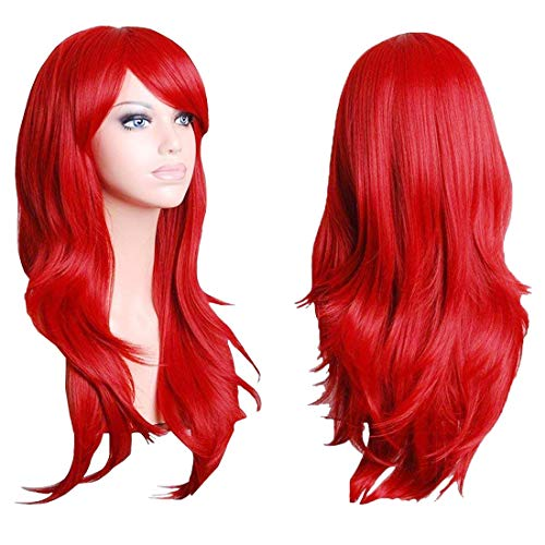 Wigood 28 Inch Red Long Curly Hair Cosplay Wig with Free Wig Cap and Comb for Women ()